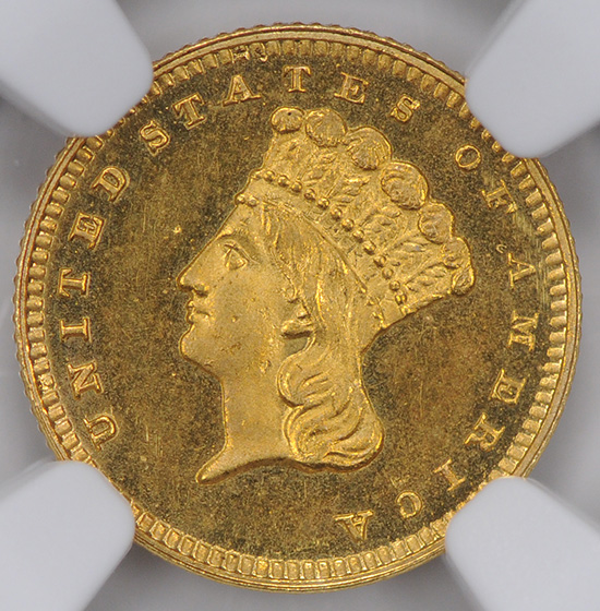 Picture of 1877 GOLD G$1, TYPE 3 PR66+ Cameo