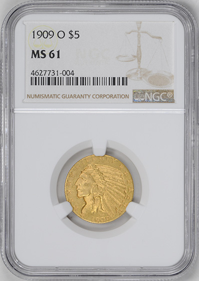 Picture of 1909-O INDIAN HEAD $5 MS61