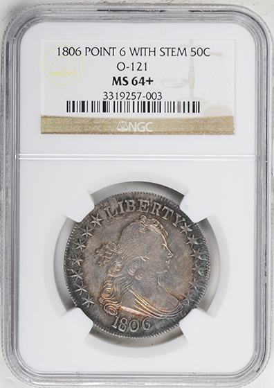 Picture of 1806 DRAPED BUST 50C, POINTED 6, STEM MS64+