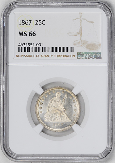Picture of 1867 LIBERTY SEATED 25C, MOTTO MS66