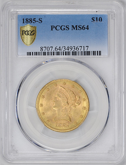 Picture of 1885-S LIBERTY HEAD $10 MS64