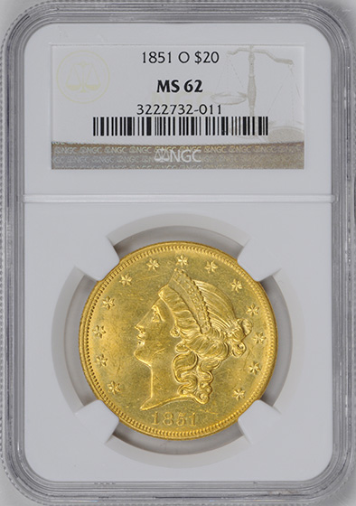 Picture of 1851-O LIBERTY HEAD $20 MS62
