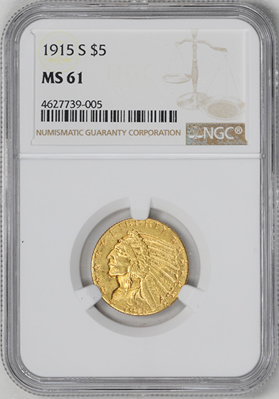 Picture of 1915-S INDIAN HEAD $5 MS61