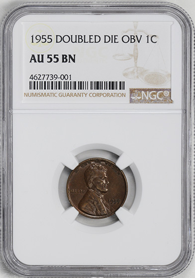 Picture of 1955 LINCOLN 1C, DOUBLED DIE OBVERSE AU55 Brown