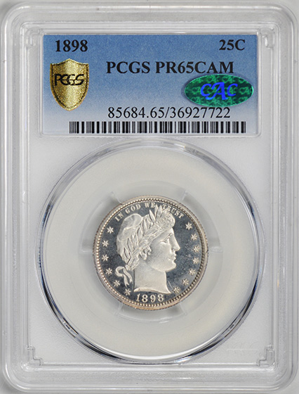 Picture of 1898 BARBER 25C PR65 Cameo