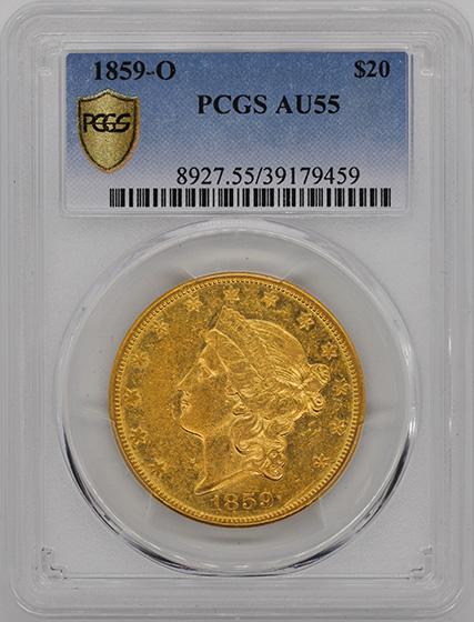 Picture of 1859-O LIBERTY HEAD $20 AU55