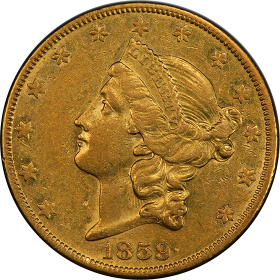 Picture of 1859-O LIBERTY HEAD $20 AU55