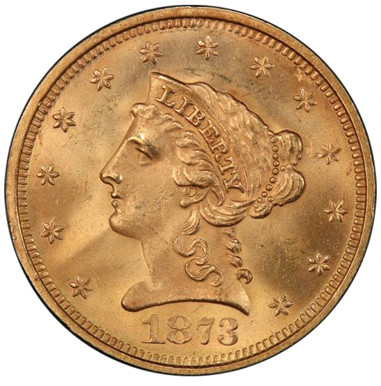 Picture of 1873 LIBERTY HEAD $2.5, OPEN 3 MS65+