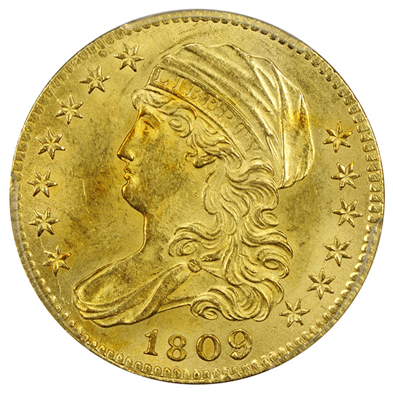 Picture of 1809/8 CAPPED BUST $5 MS63+