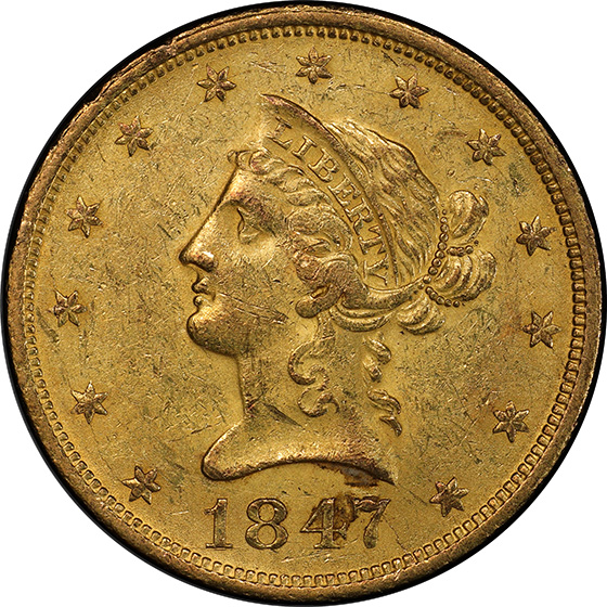 Picture of 1847-O LIBERTY HEAD $10 MS61