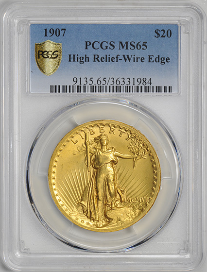 Picture of 1907 ST. GAUDENS $20, HIGH RELIEF-WIRE EDGE MS65