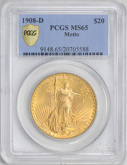Picture of 1908-D ST. GAUDENS $20, MOTTO MS65
