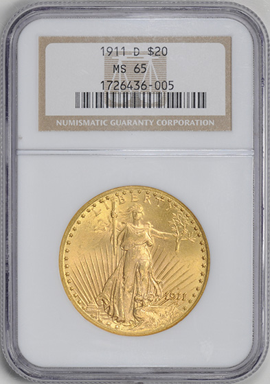 Picture of 1911-D ST. GAUDENS $20 MS65