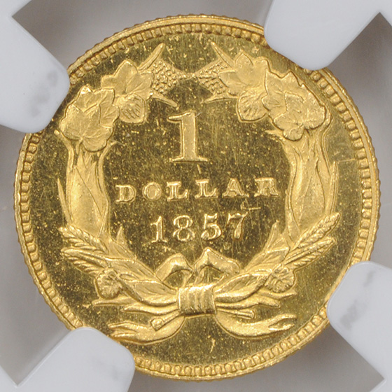 Picture of 1857 GOLD G$1, TYPE 3 PR65 Cameo