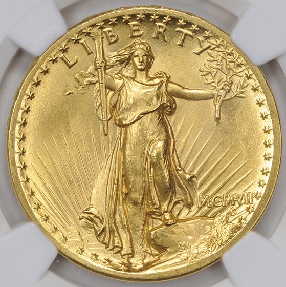Picture of 1907 ST. GAUDENS $20, HIGH RELIEF-FLAT EDGE MS67