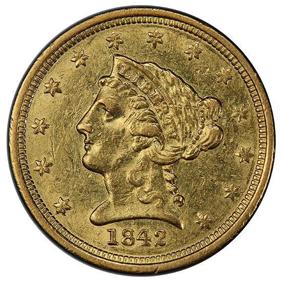 Picture of 1842-D LIBERTY HEAD $2.5 AU58
