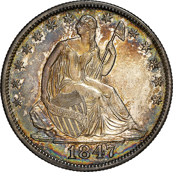 Picture of 1847/6 LIBERTY SEATED 50C, NO MOTTO RA62 W