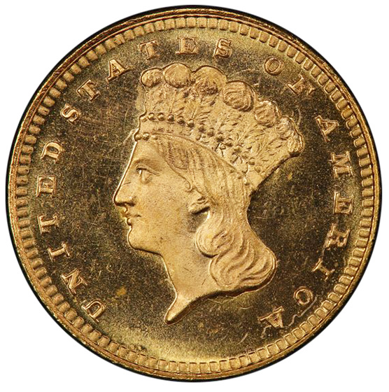 Picture of 1866 GOLD G$1, TYPE 3 MS67+