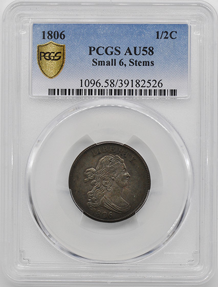 Picture of 1806 DRAPED BUST 1/2C, SMALL 6, STEMS AU58 Brown