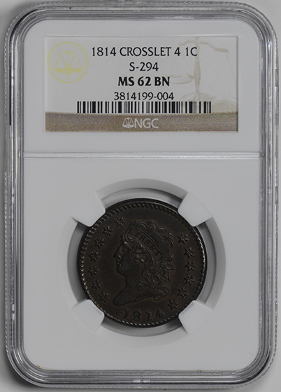 Picture of 1814 CLASSIC HEAD 1C, CROSSLET 4 MS62 Brown