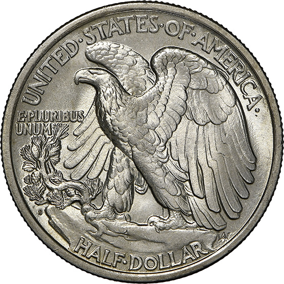 Picture of 1917-S WALKING LIBERTY 50C, REVERSE MS66