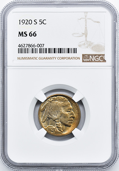 Picture of 1920-S BUFFALO 5C MS66