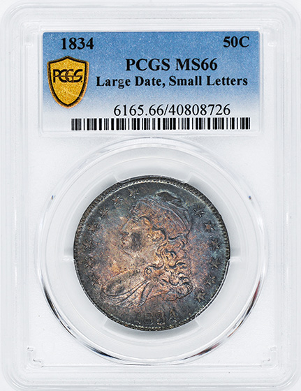 Picture of 1834 CAPPED BUST 50C, LARGE DATE, SMALL LETTERS MS66