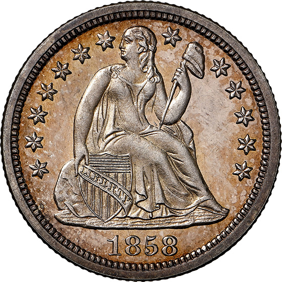 Picture of 1858 LIBERTY SEATED 10C PR67 Cameo