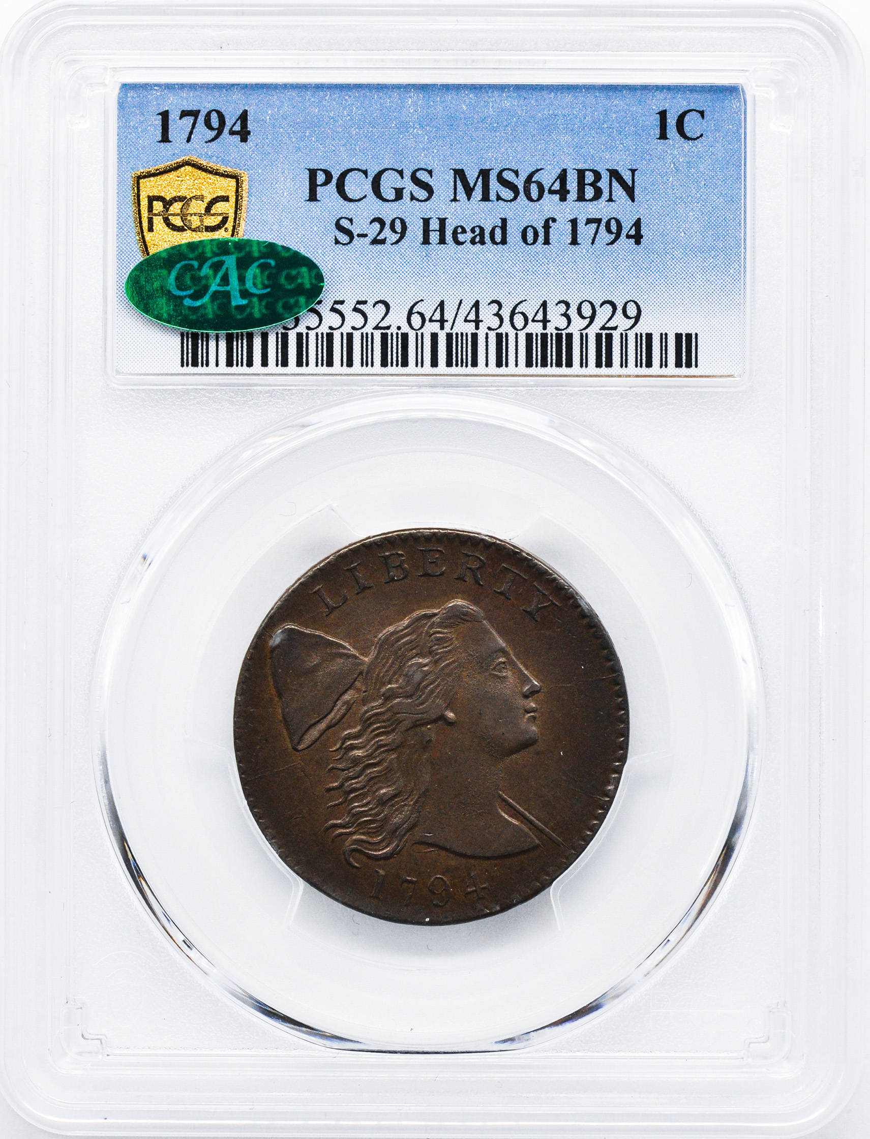 1794 FLOWING HAIR LARGE 1C, HEAD OF 1794, DENT  BORDER MS65 Brown