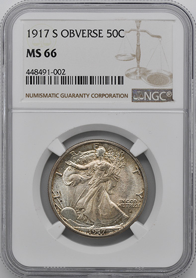 Picture of 1917-S WALKING LIBERTY 50C, OBVERSE MS66