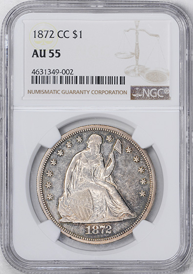 Picture of 1872-CC LIBERTY SEATED S$1, MOTTO AU55