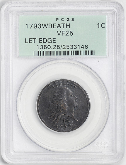 Picture of 1793 WREATH 1C, LETTERED EDGE VF25