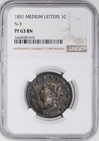 Picture of 1831 CORONET HEAD 1C PR63 Brown
