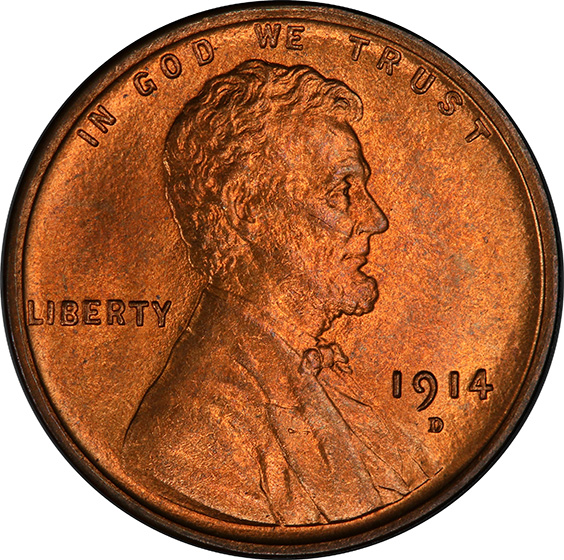 Picture of 1914-D LINCOLN BRONZE 1C MS66 Red