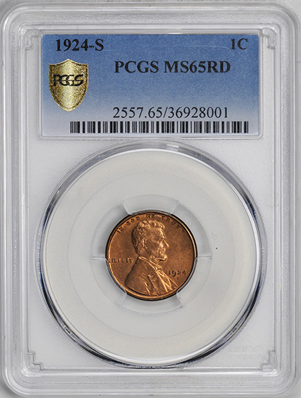 Picture of 1924-S LINCOLN BRONZE 1C MS65 Red