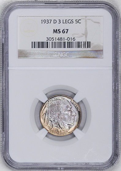 Picture of 1937-D BUFFALO 5C, 3 LEGS MS67
