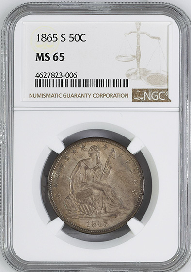 Picture of 1865-S LIBERTY SEATED 50C, NO MOTTO MS65