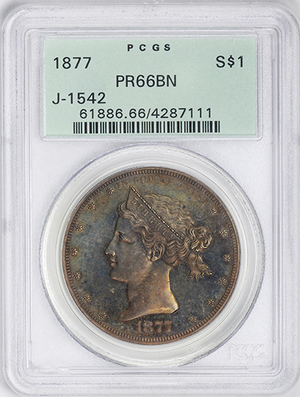 Picture of 1877 S$1 J-1542 PR66 Brown