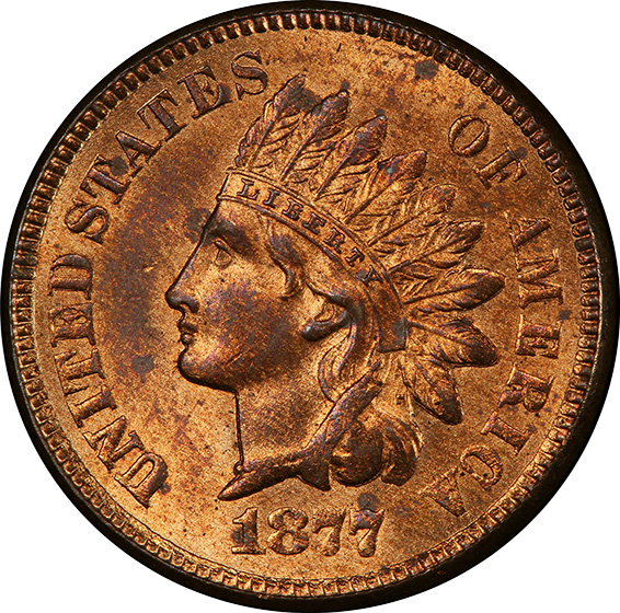 Picture of 1877 INDIAN BRONZE 1C MS64 Red