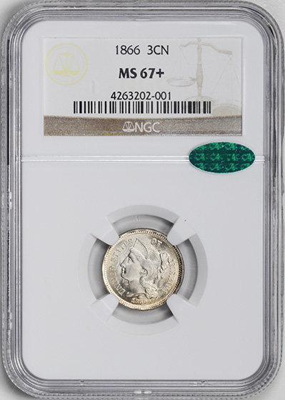 Picture of 1866 NICKEL 3CN MS67+