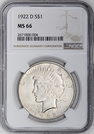 Picture of 1922-D PEACE $1 MS66