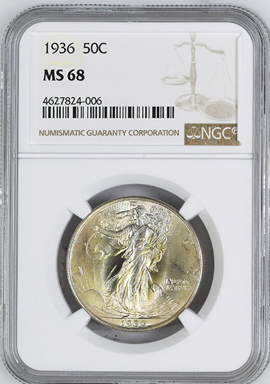 Picture of 1936 WALKING LIBERTY 50C MS68