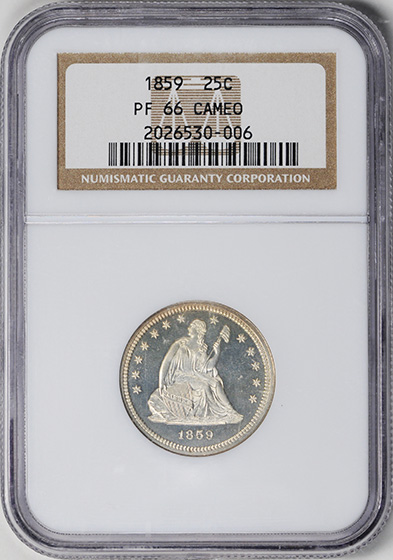 Picture of 1859 LIBERTY SEATED 25C, NO MOTTO PR66 Cameo