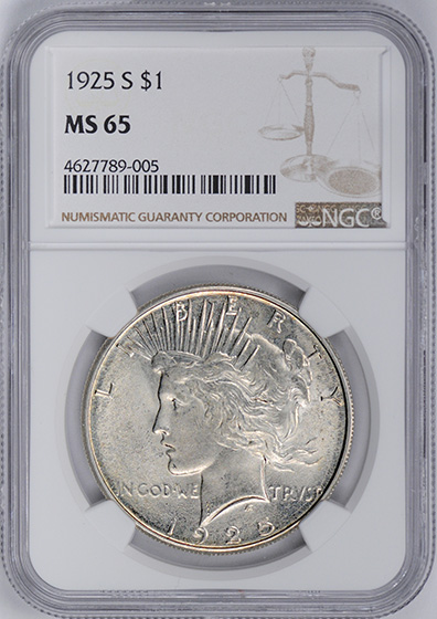 Picture of 1925-S PEACE $1 MS65
