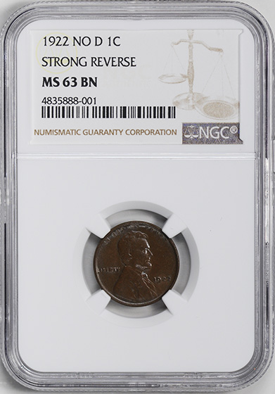 Picture of 1922 LINCOLN BRONZE 1C, STRONG REVERSE MS63 Brown