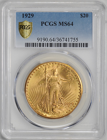 Picture of 1929 ST. GAUDENS $20 MS64