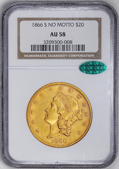 Picture of 1866-S LIBERTY HEAD $20, NO MOTTO AU58