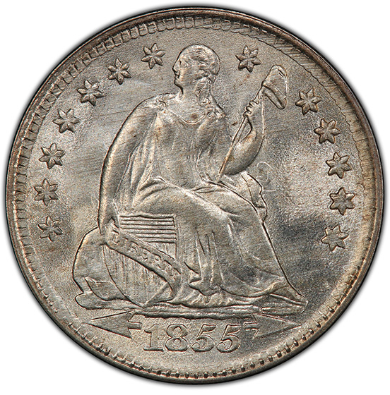 Picture of 1855 LIBERTY SEATED H10C, ARROWS MS66+