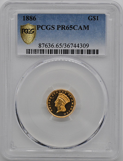 Picture of 1886 GOLD G$1, TYPE 3 PR65 Cameo