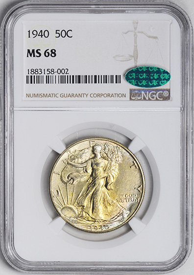 Picture of 1940 WALKING LIBERTY 50C MS68